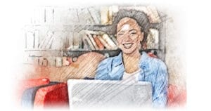 Cheerful female writer with attractive appearance wearing jean clothes sitting at sofa against shelves with books, working on her new article while using laptop computer and free wi-fi connection